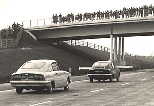 Bond GT4S cars on the new M6 motorway in 1965