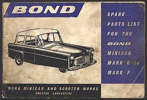 Bond Spare Parts List illustrated with a MkE Minicar